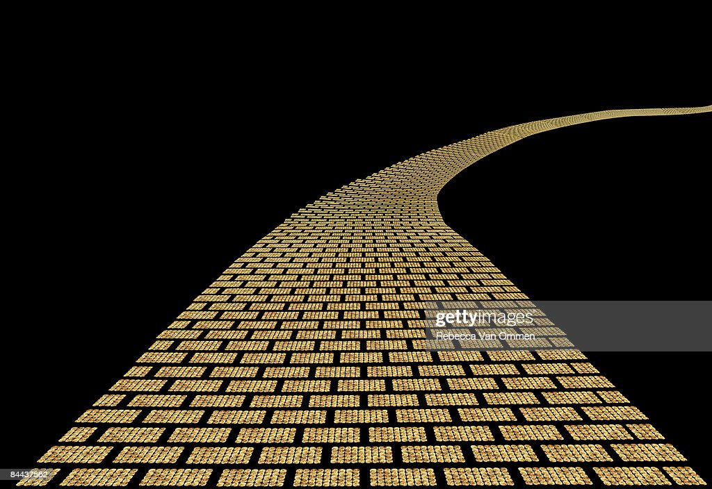 path made of golden coins : Stock Photo