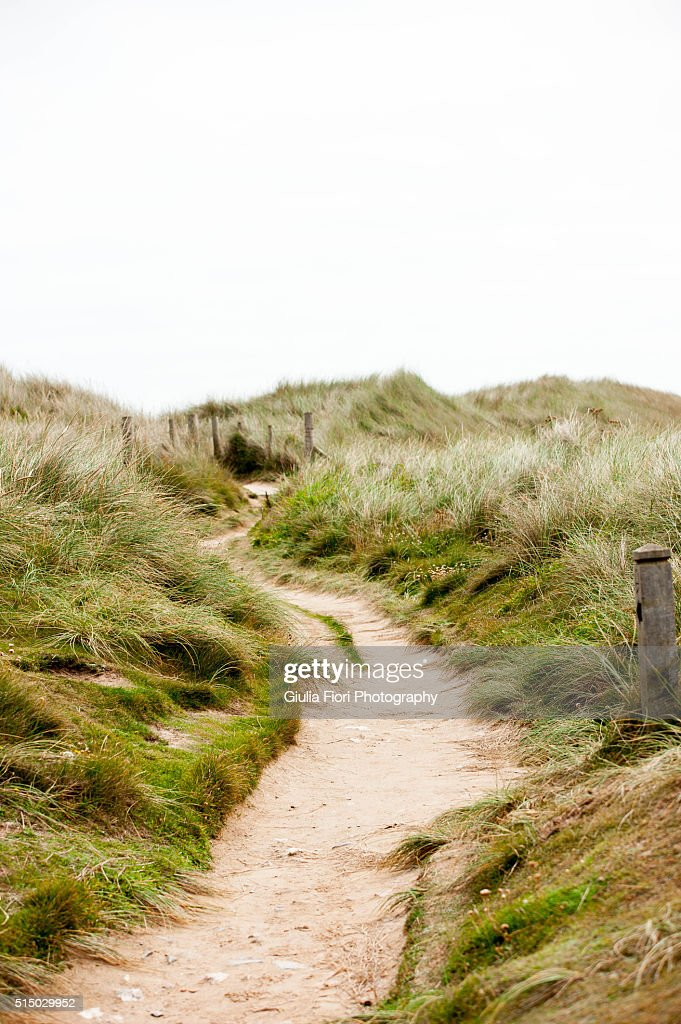 Path next to the beach in Gwithian, Cornwall
