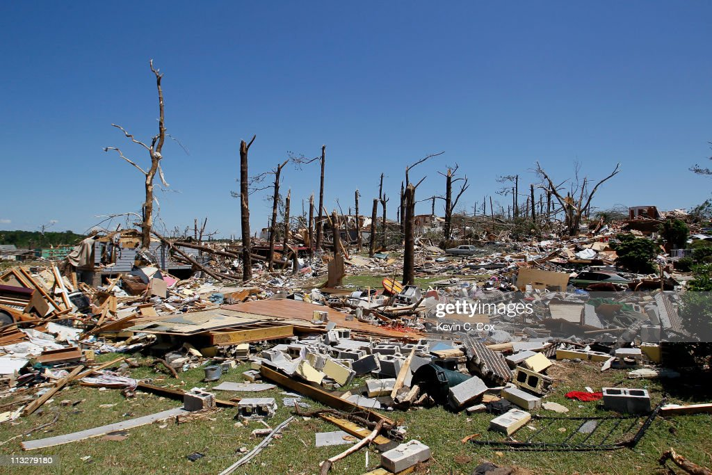 A path of debris from homes and trees caused by tornadoes is seen down Chaucer Street on April 29, 2011 in Pratt City, Alabama. Alabama, the hardest-hit of six states, is reported to have had nearly 300 deaths as a result of the storms.