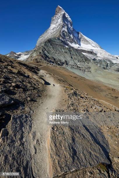 Path, track or trail to the Matterhorn, via Hörnli Hut (Hörnlihütte), base camp Matterhorn, a popular route for the ascent of the Matterhorn