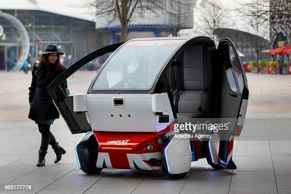 Pathfinder Pod a driverless car made by UK Autodrive in Milton Keynes is at Peninsula Square in London England on February 11 2015 On Wednesday 11...