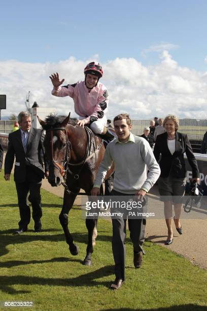 Pathfork rode by Jockey Fran Berry celebrate after winning the boylesportscom Vincent O'Brien National Stakes on The Irish Field St...
