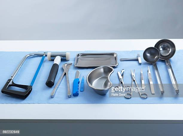 Pathology equipment ready for a autopsy in a laboratory