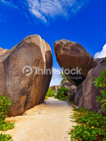 Pathway to tropical beach : Stock Photo