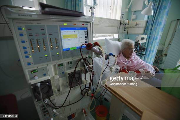 A patient at The Queen Elizabeth Hospital is treated on a dialysis machine at Birmingham on June 14 2006 in Birmingham England Senior managers of the...