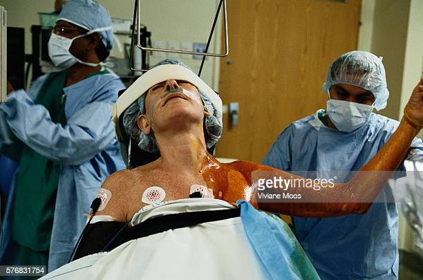 Patient being prepared for arthroscopic surgery on his shoulder at Beth Israel Hospital in New York City