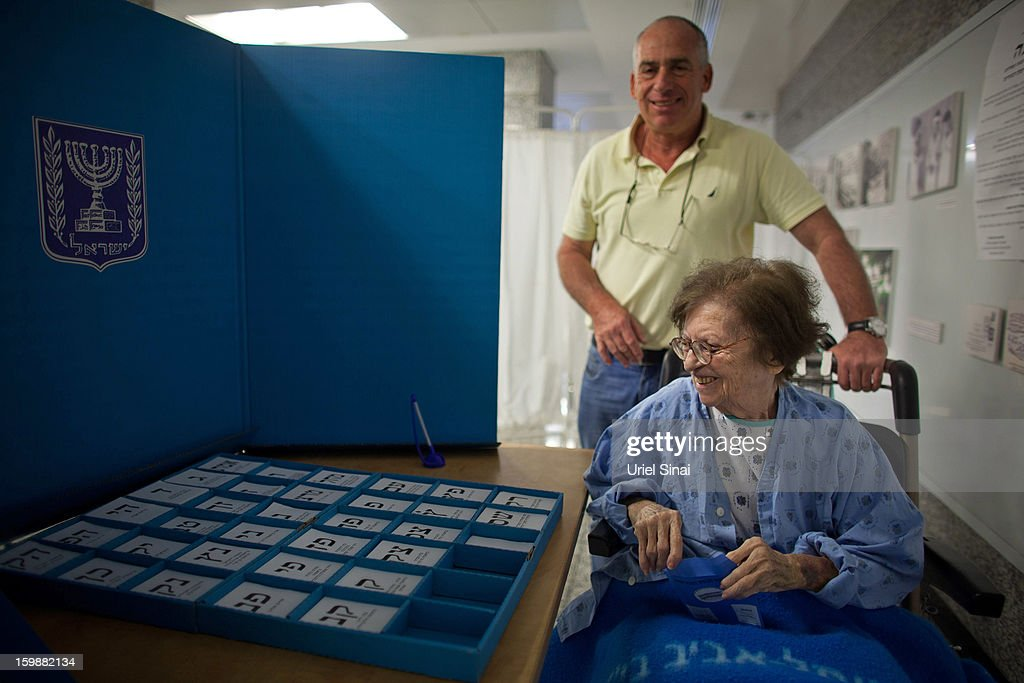 A patient casts her vote at the Ichilov hospital during the Israeli General Election on January 22, 2013 in Tel Aviv, Israel. The latest opinion polls suggest that current Prime Minister Benjamin Netanyahu will return to office, albeit with a reduced majority.