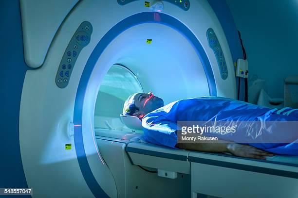 Patient entering Magnetic Resonance Imaging (MRI) scanner