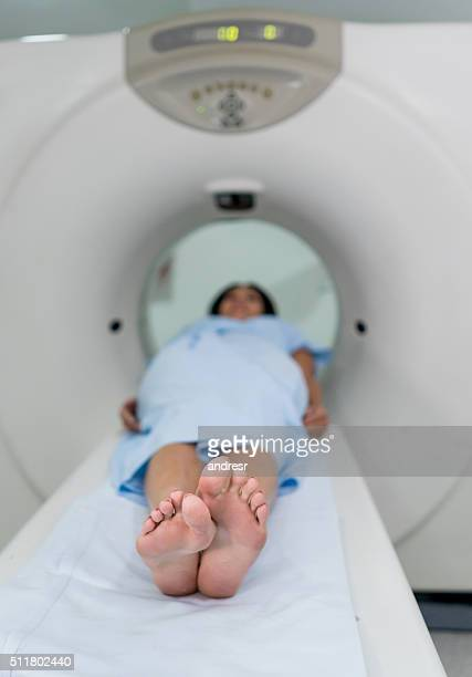 Patient getting a CAT scan at the hospital