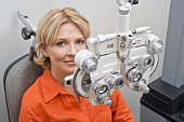 Patient in optometrist's office