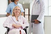 Patient in wheelchair in hospital corridor