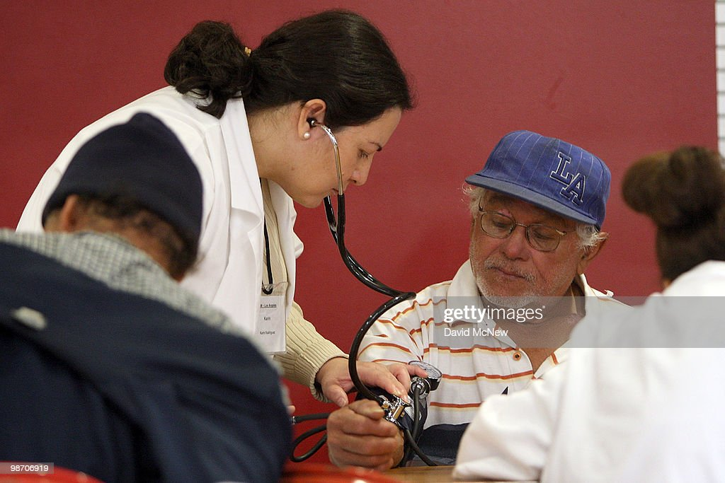 A patient is checked in the Patient TRIAGE section at the Remote Area Medical (RAM) clinic at the Los Angeles Sports Arena on April 27, 2010 in Los Angeles, California. More than 6,000 people were given wristbands over the weekend, some of them waiting overnight, to receive the free medical, dental and vision care. RAM hopes to treat 8,400 patients at the event which runs from April 27 to May 3. A Los Angeles-area RAM event in 2009 provided more than 14,500 services to approximately 6,344 patients. Los Angeles is reportedly home to 2.2 million uninsured people.