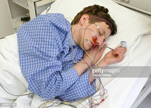 Patient sleeping in a sleep laboratory on October 25 in Berlin Germany
