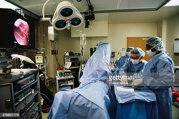 Patient undergoing arthroscopic surgery on his shoulder at Beth Israel Hospital in New York City