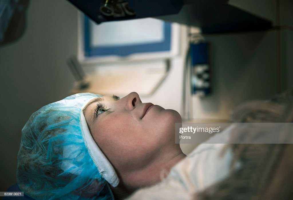 Patient undergoing laser eye surgery