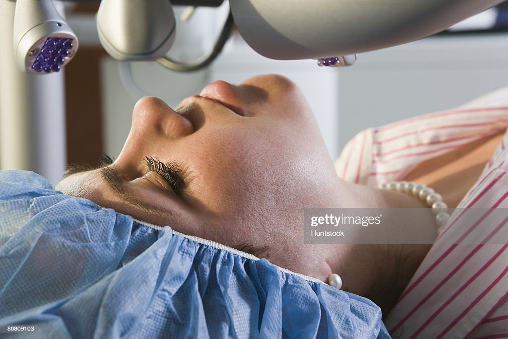 Patient undergoing LASIK surgery