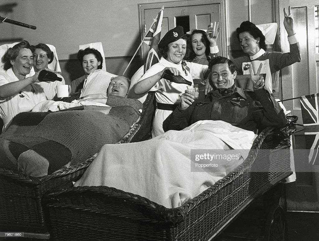 8th May 1945, Patients at Horley Military Hospital, all severly wounded in France and Italy, celebrate V,E, Day with nursing staff