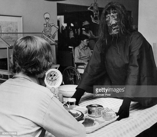Patients Entertained At Halloween Party Roxy Abbott right an employee in the dietary department at Spaulding Rehabilitation Center 1919 Ogden is...