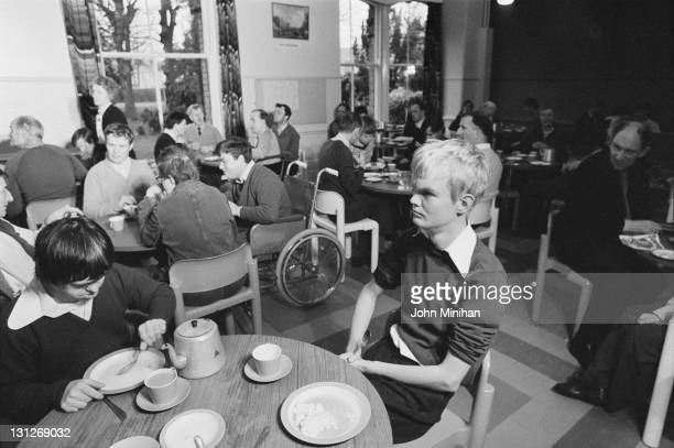 Patients in a dining room at Normansfield Hospital Teddington Middlesex 12th February 1979 The hospital was founded by British doctor John Langdon...