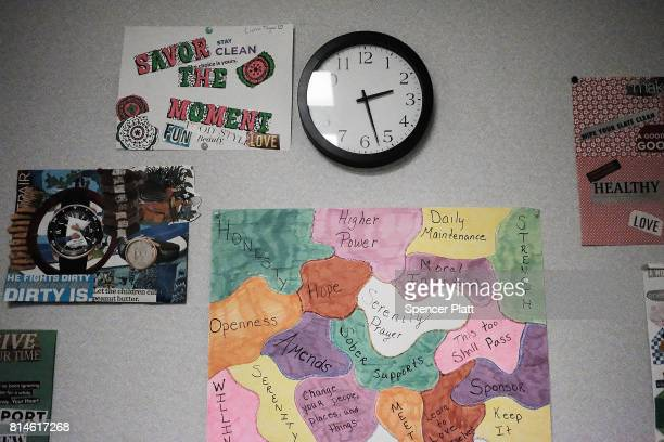 Patient's motivational artwork adorns the walls at the Neil Kennedy Recovery Center on July 14 2017 in Youngstown Ohio One of the oldest recovery...