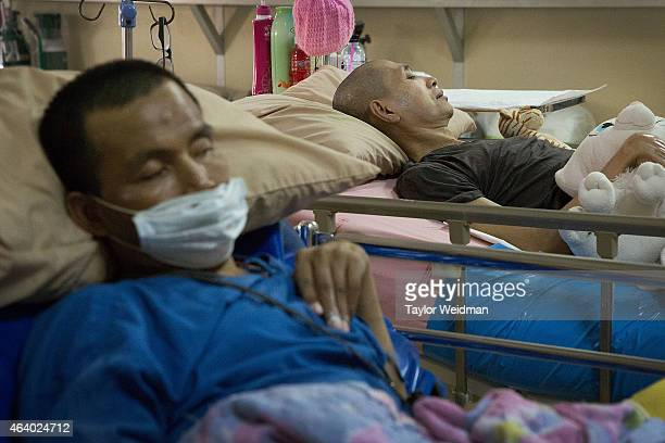 AIDS patients rest in the hospice on February 21 2015 at Wat Phra Bat Nam Phu in Lop Buri Thailand Since beginning to care for HIV/AIDS patients in...