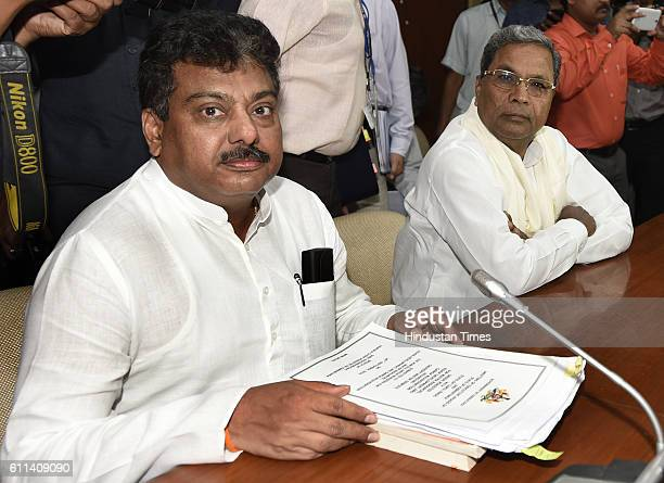 Patil Minister for Water Resources and Siddaramaiah Chief Minister of Karnataka during a meeting with Union Minister for Water Resources Uma Bharti...