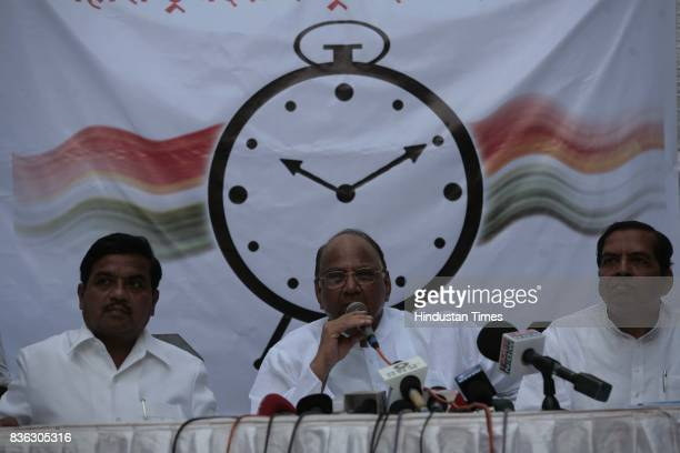 Patil Sharad Pawar and Arun Gujrathi during the press conference at NZ Club Goregoan on Saturday