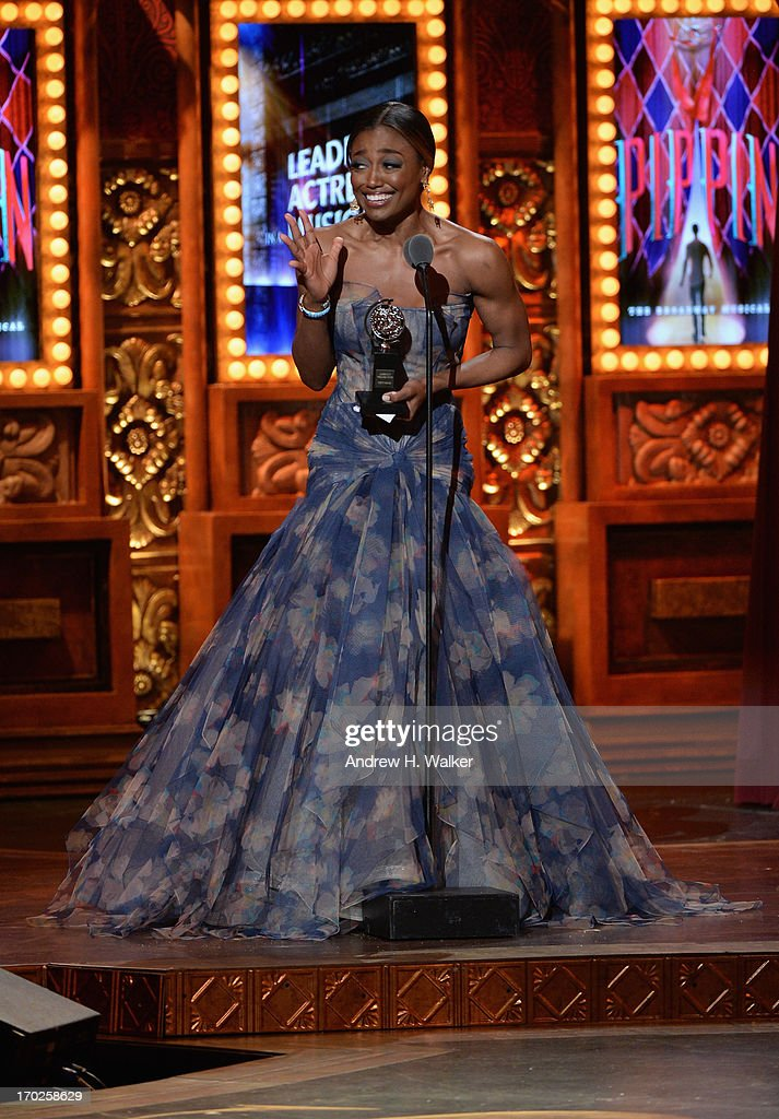 Patina Miller accepts the Tony Award for Best Performance by an Actress in a Leading Role in a Musical for 'Pippin' at The 67th Annual Tony Awards at Radio City Music Hall on June 9, 2013 in New York City.