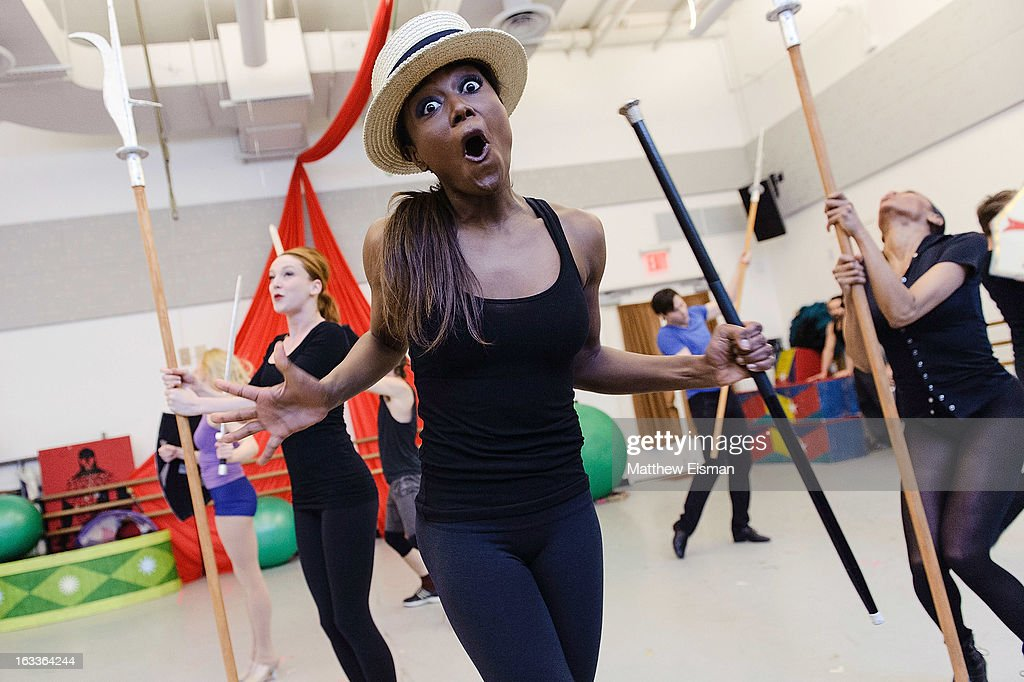 Patina Miller and cast members attend the 'Pippin' Broadway Open Press Rehearsal at Manhattan Movement Arts Center on March 8 2013 in New York City