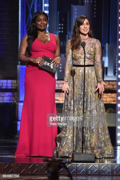 Patina Miller and Sara Bareilles speak onstage during the 2017 Tony Awards at Radio City Music Hall on June 11 2017 in New York City
