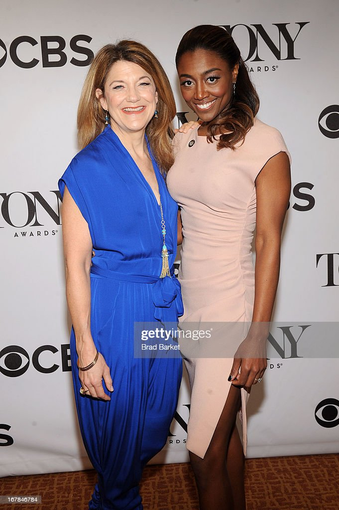 Patina Miller (L) and Victoria Clark attend the 2013 Tony Awards Meet The Nominees Press Reception on May 1, 2013 in New York City.