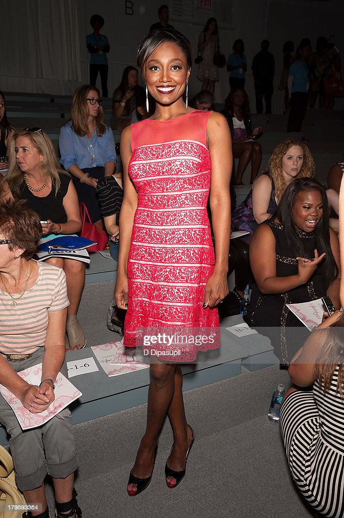<a gi-track='captionPersonalityLinkClicked' href=/galleries/search?phrase=Patina+Miller&family=editorial&specificpeople=5748190 ng-click='$event.stopPropagation()'>Patina Miller</a> attends the Tadashi Shoji Spring 2014 fashion show at The Stage Lincoln Center on September 5, 2013 in New York City.