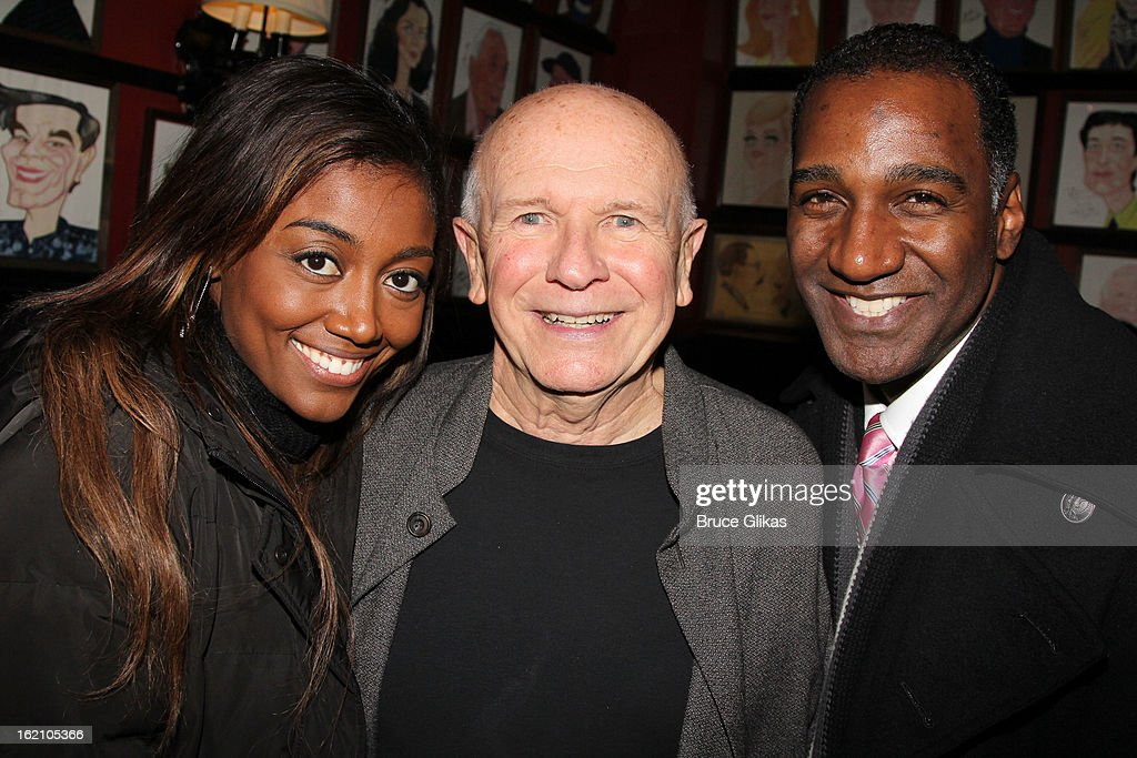 Patina Miller, Book WriterTerrence McNally and Norm Lewis pose backstage at 'Ragtime' on Broadway at Avery Fisher Hall on February 18, 2013 in New York City.
