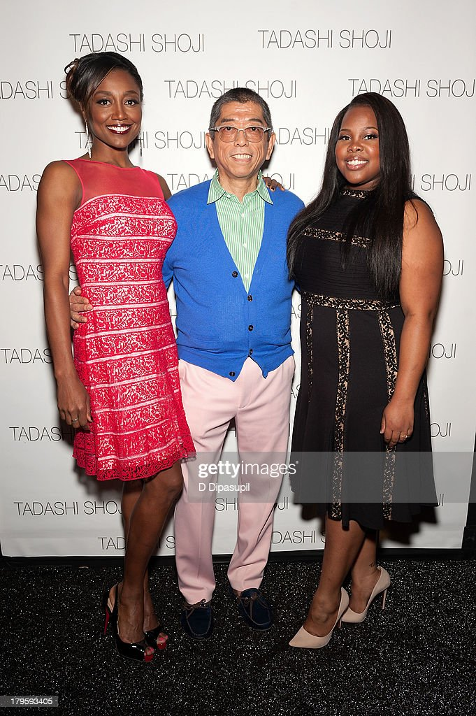 Patina Miller, designer Tadashi Shoji, and Amber Riley attend the Tadashi Shoji Spring 2014 fashion show at The Stage Lincoln Center on September 5, 2013 in New York City.