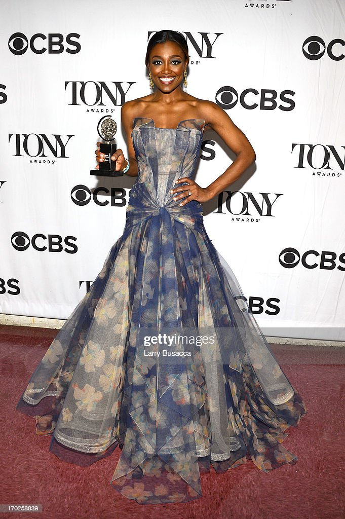 Patina Miller winner of the award for Best Performance by a Leading Actress in a Musical for 'Pippin' attends The 67th Annual Tony Awards green room...