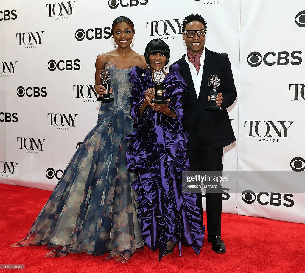 <a gi-track='captionPersonalityLinkClicked' href=/galleries/search?phrase=Patina+Miller&family=editorial&specificpeople=5748190 ng-click='$event.stopPropagation()'>Patina Miller</a>, winner of the award for Best Performance by a Leading Actress in a Musical for 'Pippin', <a gi-track='captionPersonalityLinkClicked' href=/galleries/search?phrase=Cicely+Tyson&family=editorial&specificpeople=211450 ng-click='$event.stopPropagation()'>Cicely Tyson</a>, winner of the award for Best Performance by a Leading Actress in a Play for 'The Trip to Bountiful' and <a gi-track='captionPersonalityLinkClicked' href=/galleries/search?phrase=Billy+Porter&family=editorial&specificpeople=787592 ng-click='$event.stopPropagation()'>Billy Porter</a>, winner of the award for Best Performance by a Leading Actor in a Musical for ' Kinky Boots' pose together in The 67th Annual Tony Awards at Radio City Music Hall on June 9, 2013 in New York City.