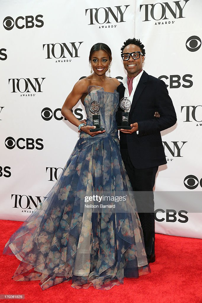 Patina Miller, winner of the award for Best Performance by a Leading Actress in a Musical for 'Pippin' and Billy Porter, winner of the award for Best Performance by a Leading Actor in a Musical for ' Kinky Boots' pose together in The 67th Annual Tony Awards at Radio City Music Hall on June 9, 2013 in New York City.