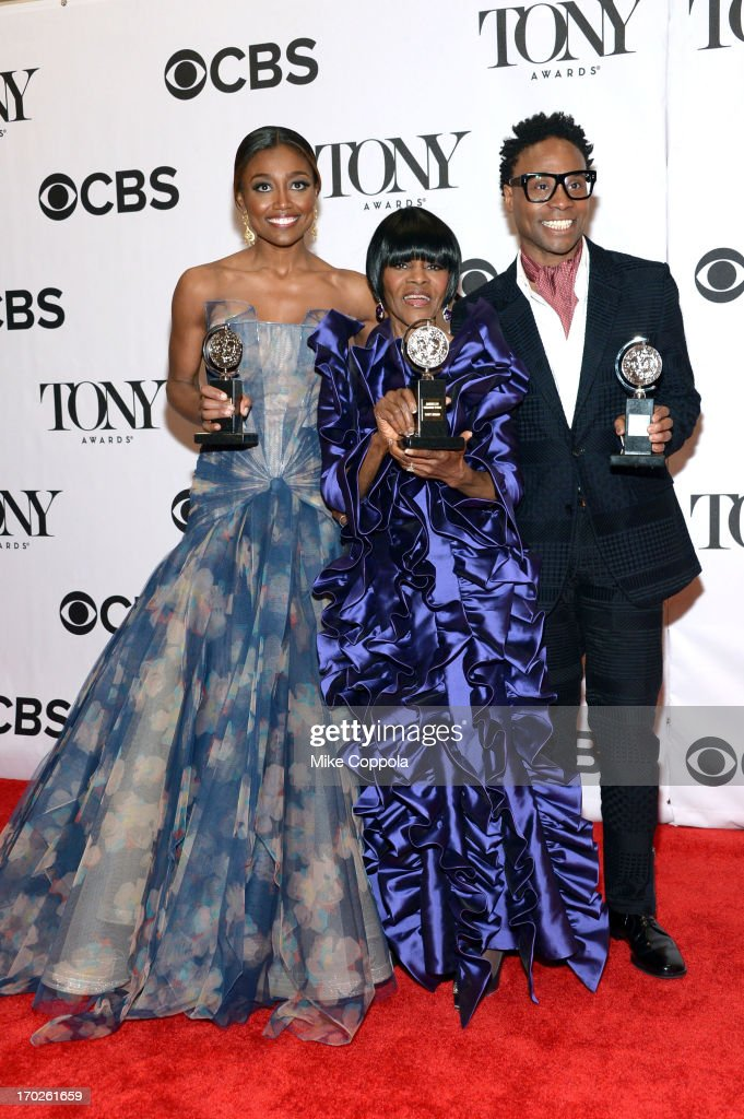 <a gi-track='captionPersonalityLinkClicked' href=/galleries/search?phrase=Patina+Miller&family=editorial&specificpeople=5748190 ng-click='$event.stopPropagation()'>Patina Miller</a>, winner of the award for Best Performance by a Leading Actress in a Musical for 'Pippin', <a gi-track='captionPersonalityLinkClicked' href=/galleries/search?phrase=Cicely+Tyson&family=editorial&specificpeople=211450 ng-click='$event.stopPropagation()'>Cicely Tyson</a>, winner of the award for Best Performance by a Leading Actress in a Play for 'The Trip to Bountiful' and Billy Porter, winner of the award for Best Performance by a Leading Actor in a Musical for ' Kinky Boots' pose together in the press room at The 67th Annual Tony Awards at Radio City Music Hall on June 9, 2013 in New York City.