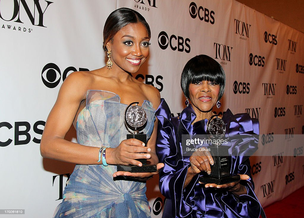 <a gi-track='captionPersonalityLinkClicked' href=/galleries/search?phrase=Patina+Miller&family=editorial&specificpeople=5748190 ng-click='$event.stopPropagation()'>Patina Miller</a>, winner of the award for Best Performance by a Leading Actress in a Musical for 'Pippin' and <a gi-track='captionPersonalityLinkClicked' href=/galleries/search?phrase=Cicely+Tyson&family=editorial&specificpeople=211450 ng-click='$event.stopPropagation()'>Cicely Tyson</a>, winner of the award for Best Performance by a Leading Actress in a Play for 'The Trip to Bountiful' pose together in the press room during the 67th Annual Tony Awards at the on June 9, 2013 in New York City.