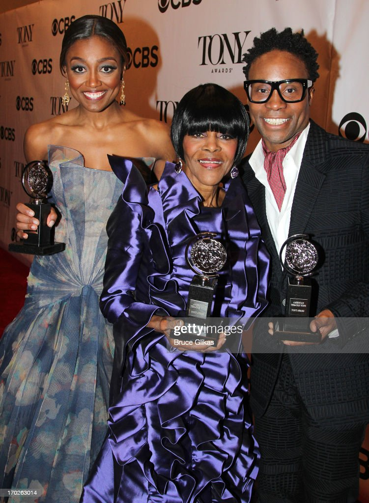 <a gi-track='captionPersonalityLinkClicked' href=/galleries/search?phrase=Patina+Miller&family=editorial&specificpeople=5748190 ng-click='$event.stopPropagation()'>Patina Miller</a>, winner of the award for Best Performance by a Leading Actress in a Musical for 'Pippin', <a gi-track='captionPersonalityLinkClicked' href=/galleries/search?phrase=Cicely+Tyson&family=editorial&specificpeople=211450 ng-click='$event.stopPropagation()'>Cicely Tyson</a>, winner of the award for Best Performance by a Leading Actress in a Play for 'The Trip to Bountiful' and <a gi-track='captionPersonalityLinkClicked' href=/galleries/search?phrase=Billy+Porter&family=editorial&specificpeople=787592 ng-click='$event.stopPropagation()'>Billy Porter</a>, winner of the award for Best Performance by a Leading Actor in a Musical for ' Kinky Boots' pose together in the press room during the 67th Annual Tony Awards at the on June 9, 2013 in New York City.