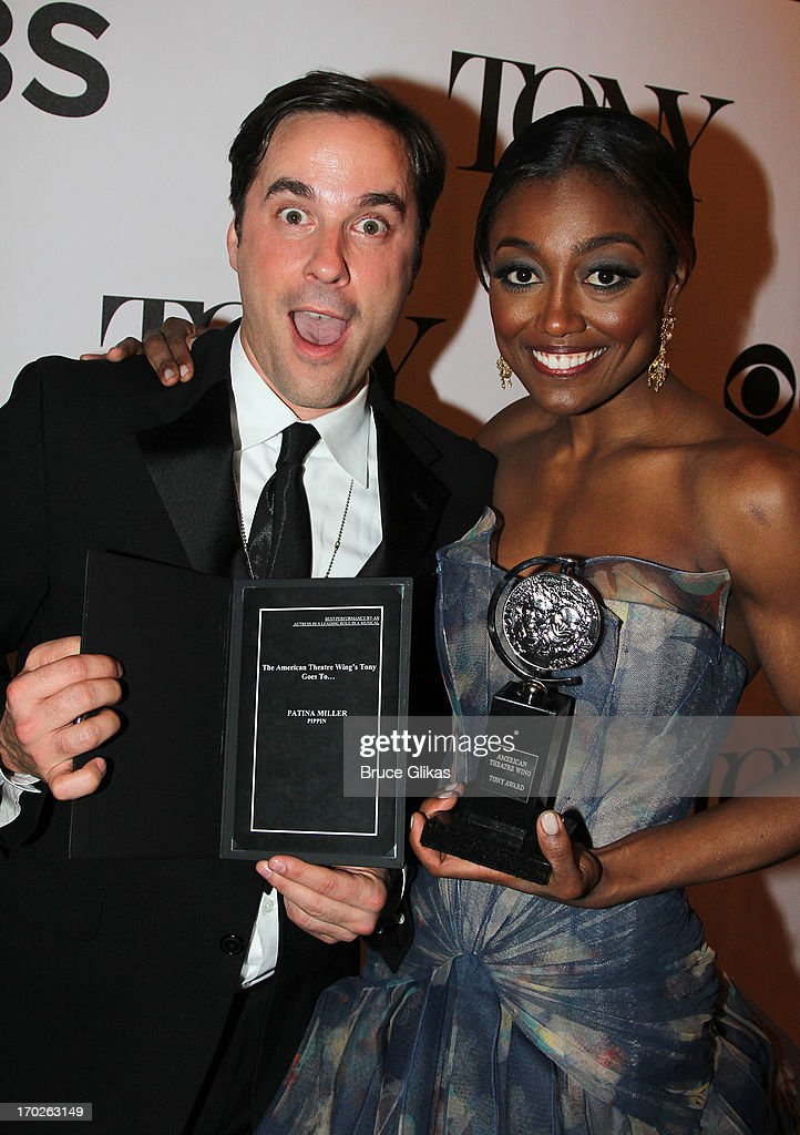 <a gi-track='captionPersonalityLinkClicked' href=/galleries/search?phrase=Patina+Miller&family=editorial&specificpeople=5748190 ng-click='$event.stopPropagation()'>Patina Miller</a> (R), winner of the award for Best Performance by a Leading Actress in a Musical for 'Pippin' poses in The 67th Annual Tony Awards at Radio City Music Hall on June 9, 2013 in New York City.