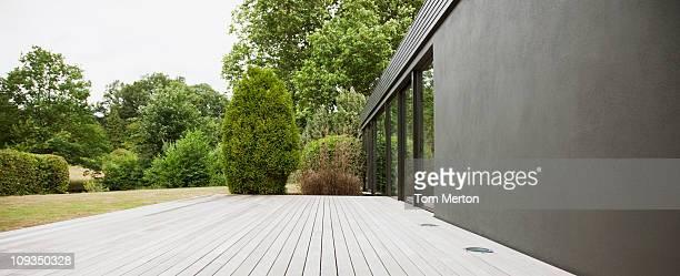 Patio and backyard of modern house