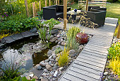 Patio and pond in the afternoon sun