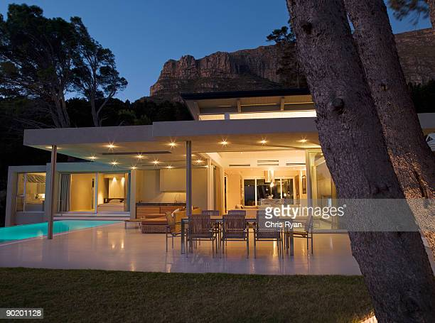 Patio area and swimming pool of modern home