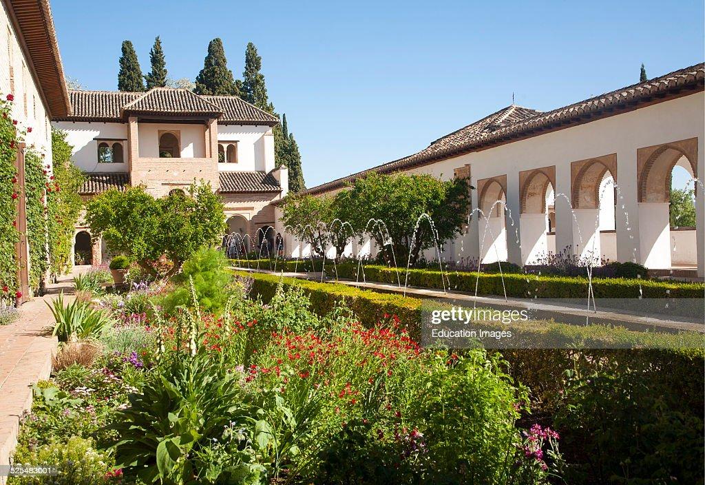 Patio de la Acequia Court of the water Channel Generalife palace gardens Alhambra Granada Spain