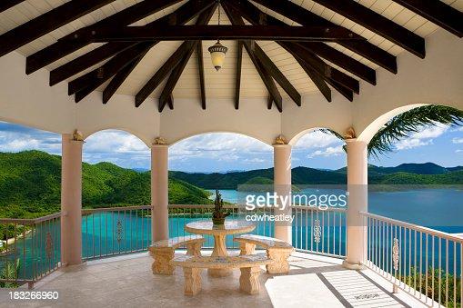 patio dining area in luxury Caribbean villa overlooking Virgin Islands