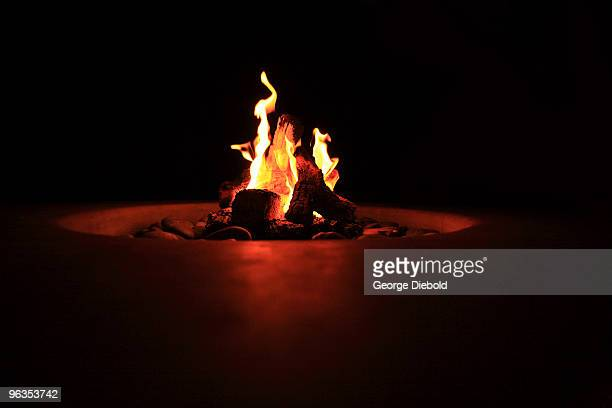 patio fire pit at night