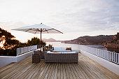Patio furniture on modern deck