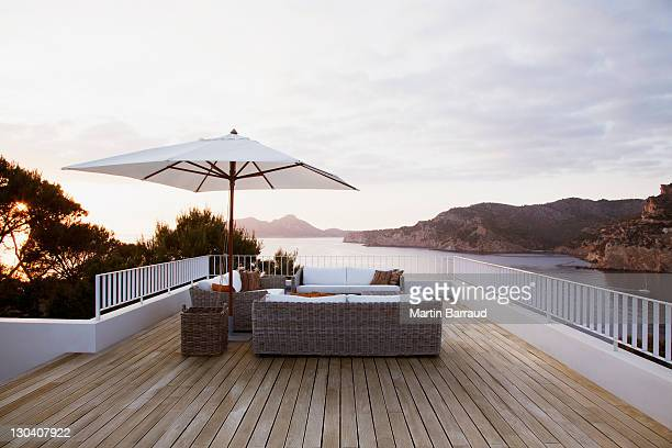 Patio furniture on modern deck