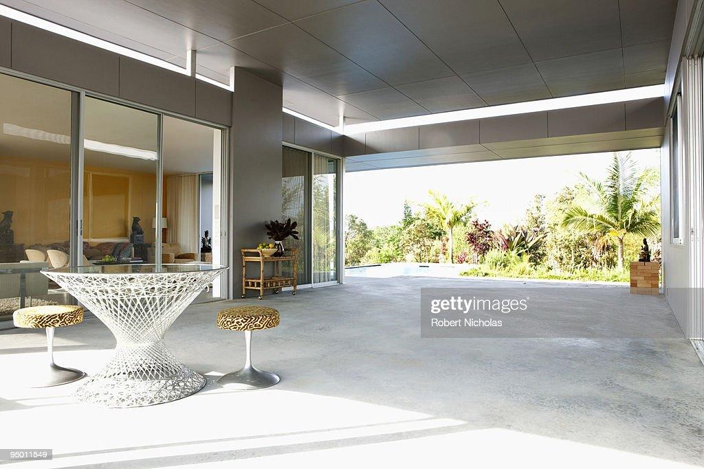 Patio of modern house : Stock Photo